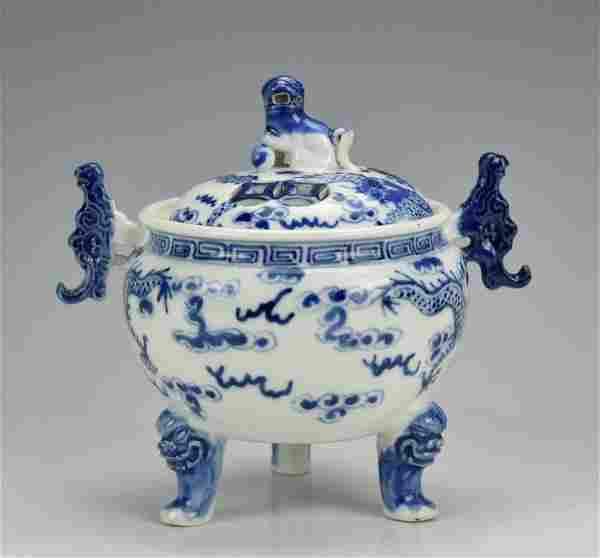 Chinese Blue and White Porcelain Censer,19th C.