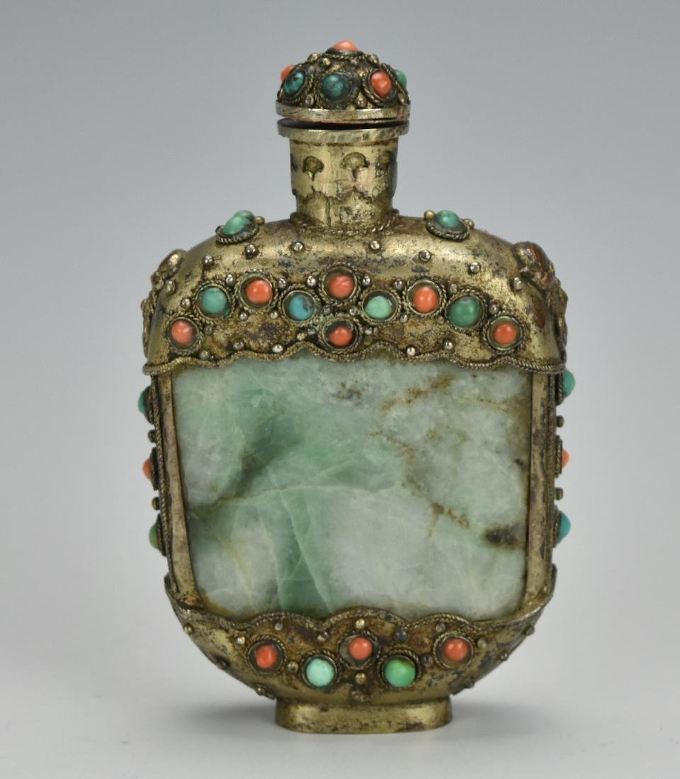 Silver & Agate Jadeite Snuff Bottle,Qing D.