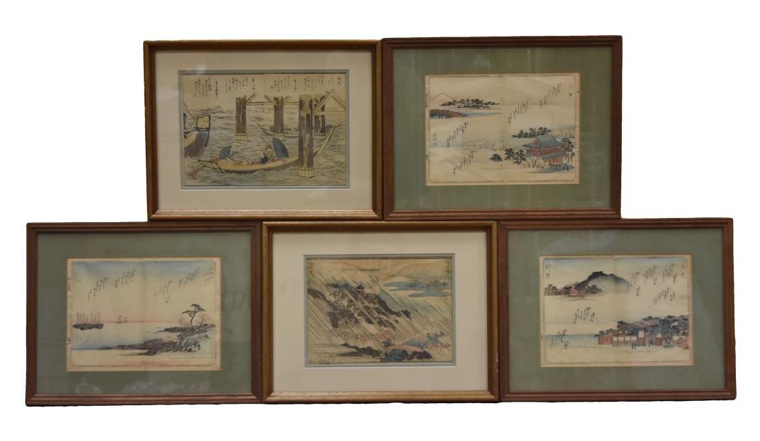 (5) Five Framed Japanese Ukiyoe/ Woodblock Prints