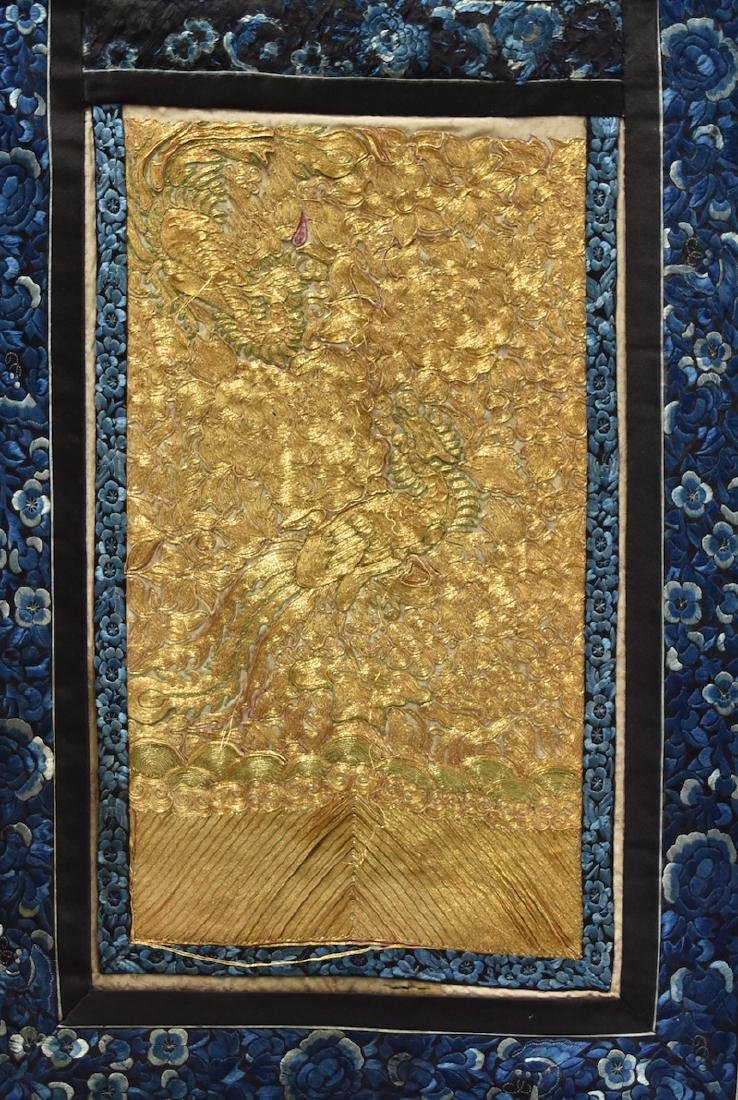 A Blue & Gold Silk Phoenix Embroidery, Qing D.