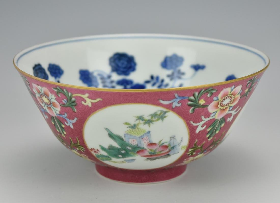 Ruby Ground Famille Rose Bowl w/ Daoguang Mark