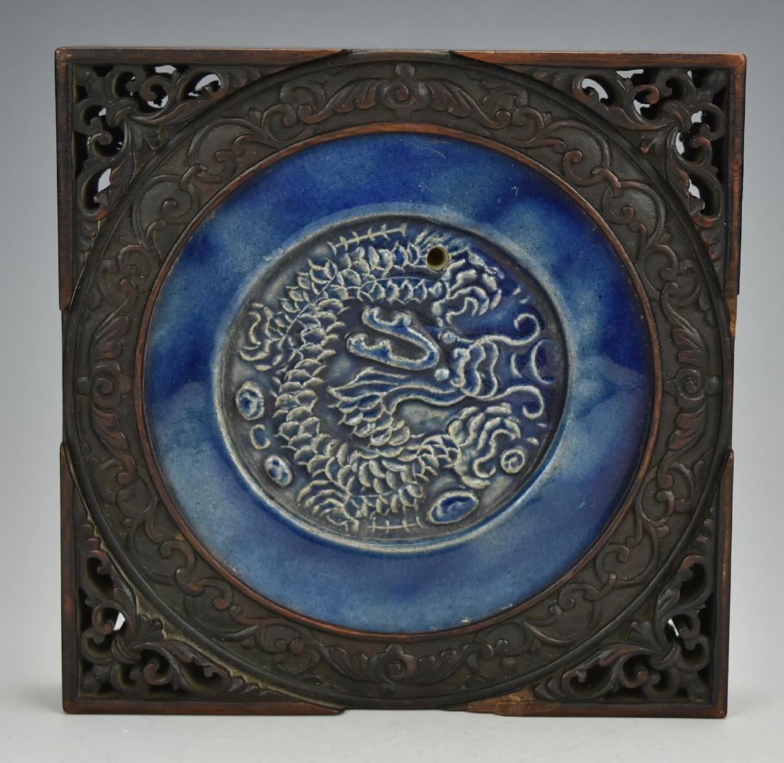 Blue Glazed Porcelain Tile w/ Wooden Frame,Qing D.