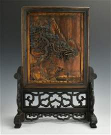 Wooden Screen on Sculpted Stand: Figure w/ Ox