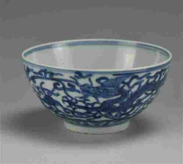 Chinese Blue and White Dragon Bowl w/ Wanli Mark
