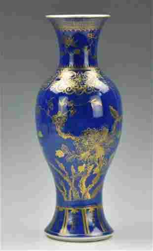 Chinese Blue Glazed Gilt Flower Vase,19th C.