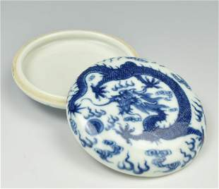 Chinese Blue White Ink Box Cover1920th C