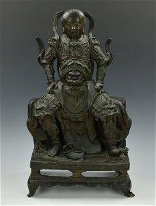 Large Chinese Bronze ZhenWu Tati Figure, Ming D.