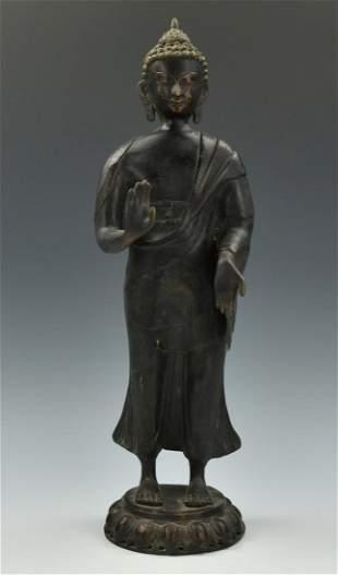Chinese Standing Bronze Buddha20th C