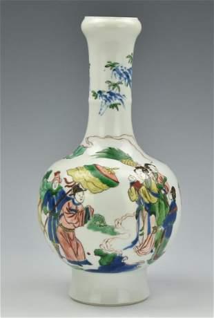Chinese Famille Verte Garlic Vase w Chenghua Mark