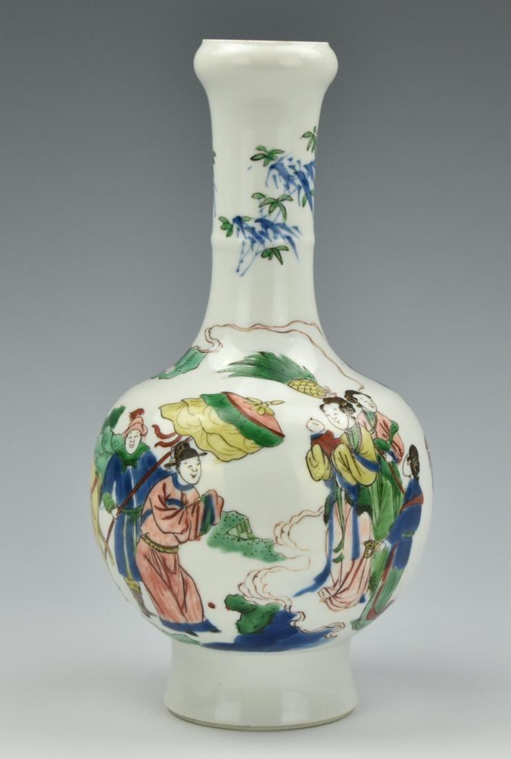 Chinese Famille Verte Garlic Vase w/ Chenghua Mark