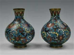 Pair of Small Chinese Cloisonne Vases19th C