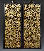 Pair of Chinese Gilt Lacuqer Wooden Plaque,20th C.