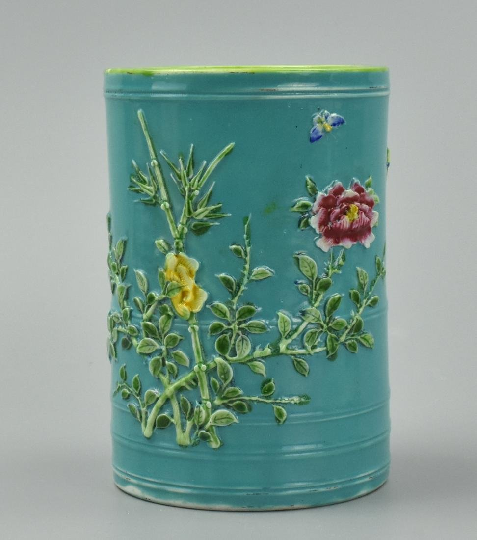 Chinese Green & Famille Rose Brush Pot, ROC Period