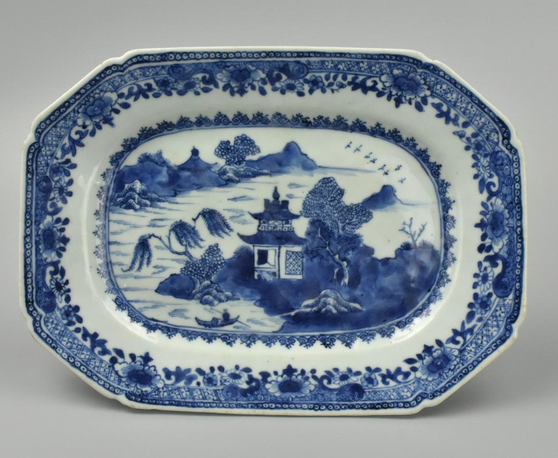 "Small Chinese Blue & White ""Seaside"" Plate,18th C."