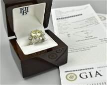 GIA Certified 5.93ct Fancy Yellow Diamond Platinum Ring