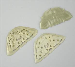 3Chinese Carved Jade Pendant ButterfliesQing D