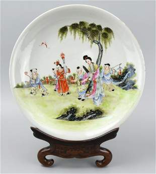 Chinese Famille Rose Charger w Children 19th C