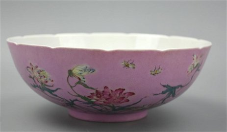 Chinese Famille Rose,Scalloped Floral Bowl, 19th C