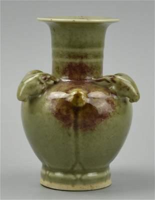 Chinese Celadon Flambe Glaze Vase w Goat 20th C