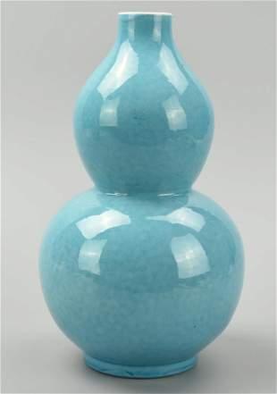 Chinese Mottled Cerulean Blue Gourd Vase20th C