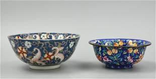 Pair of Japanese Bowls Enamel Famille Rose