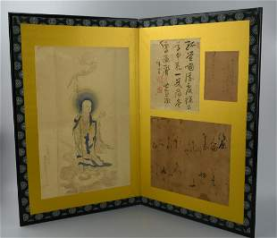 A Japanese Folding Table Screen w Bodhisattva