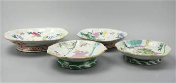 (4) Chinese Famille Rose High Footed Bowls,19th C.