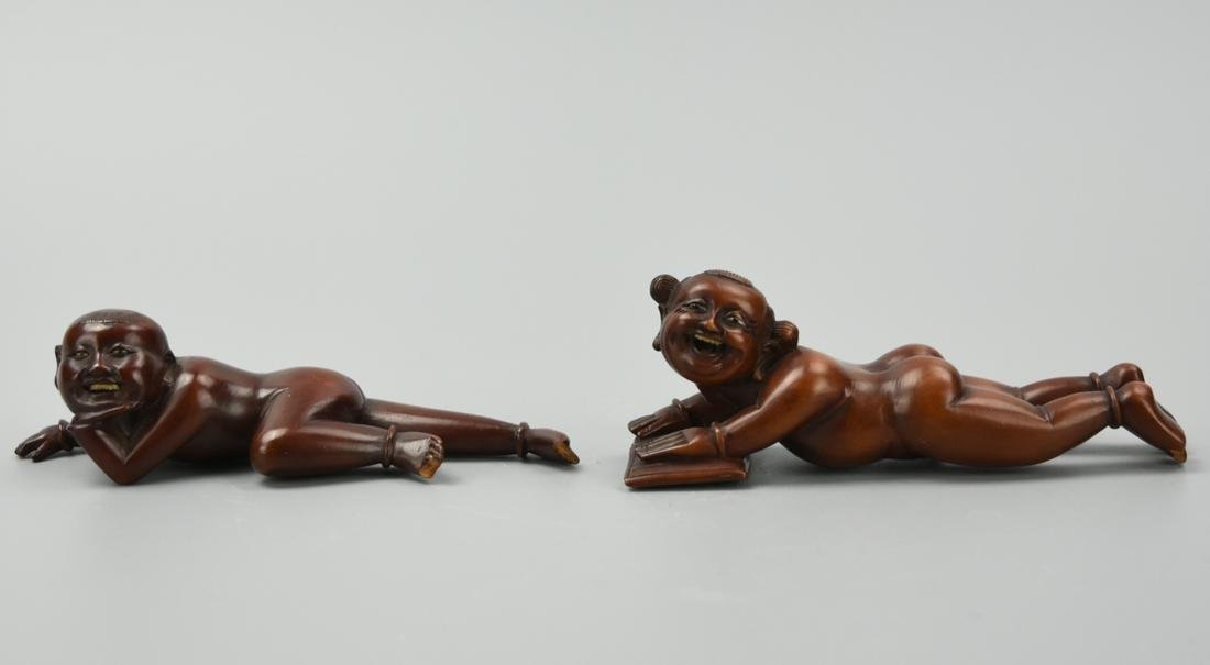 Two Chinese Wood Children Paperweight
