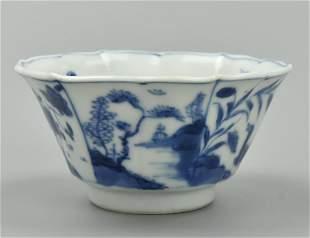 Small Chinese Hexagonal Blue White CupKangxi P