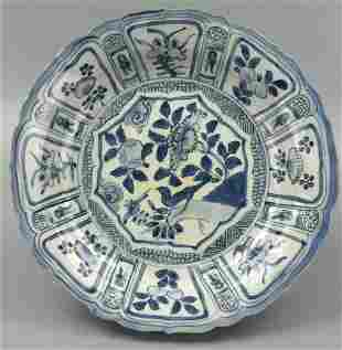 Chinese Blue White Charger w BirdsMing D