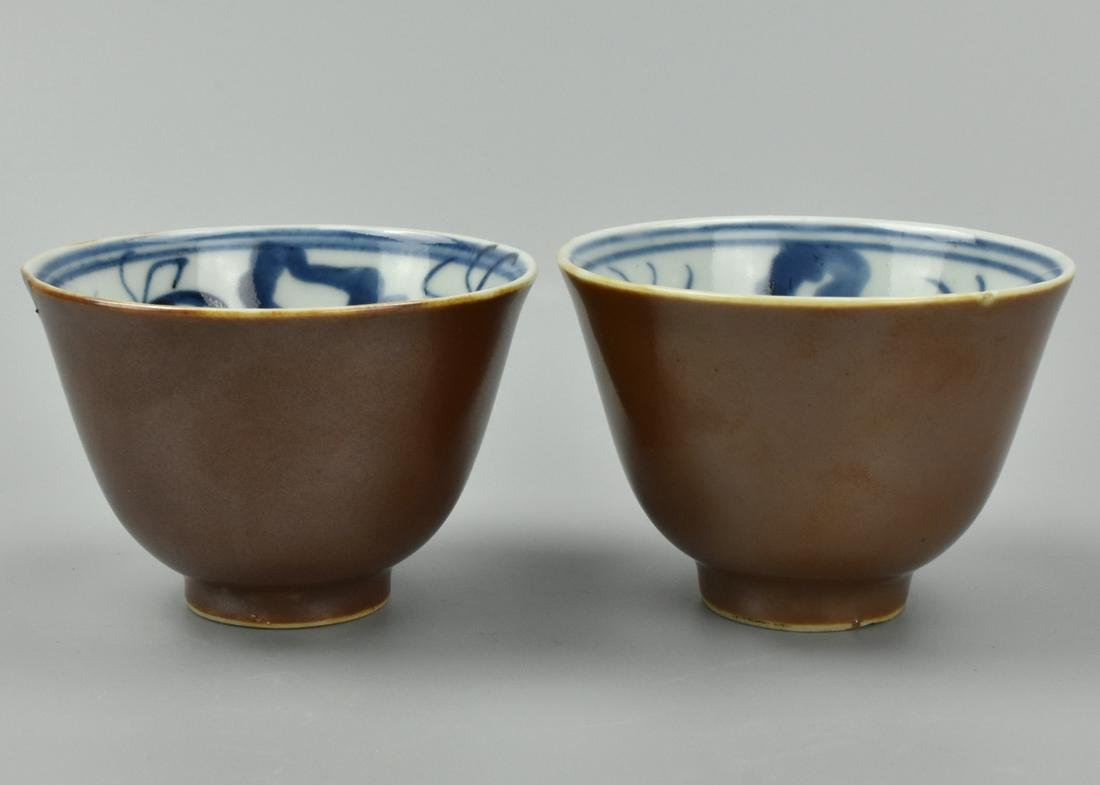 Pair of Chinese Brown, & Blue & White Cups,19th C.