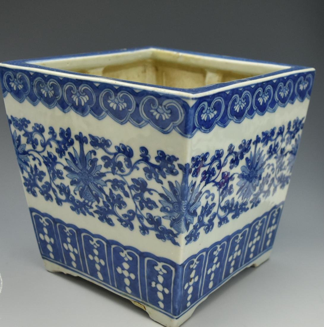 Chinese Blue & White Square Flower Basin,19th C.