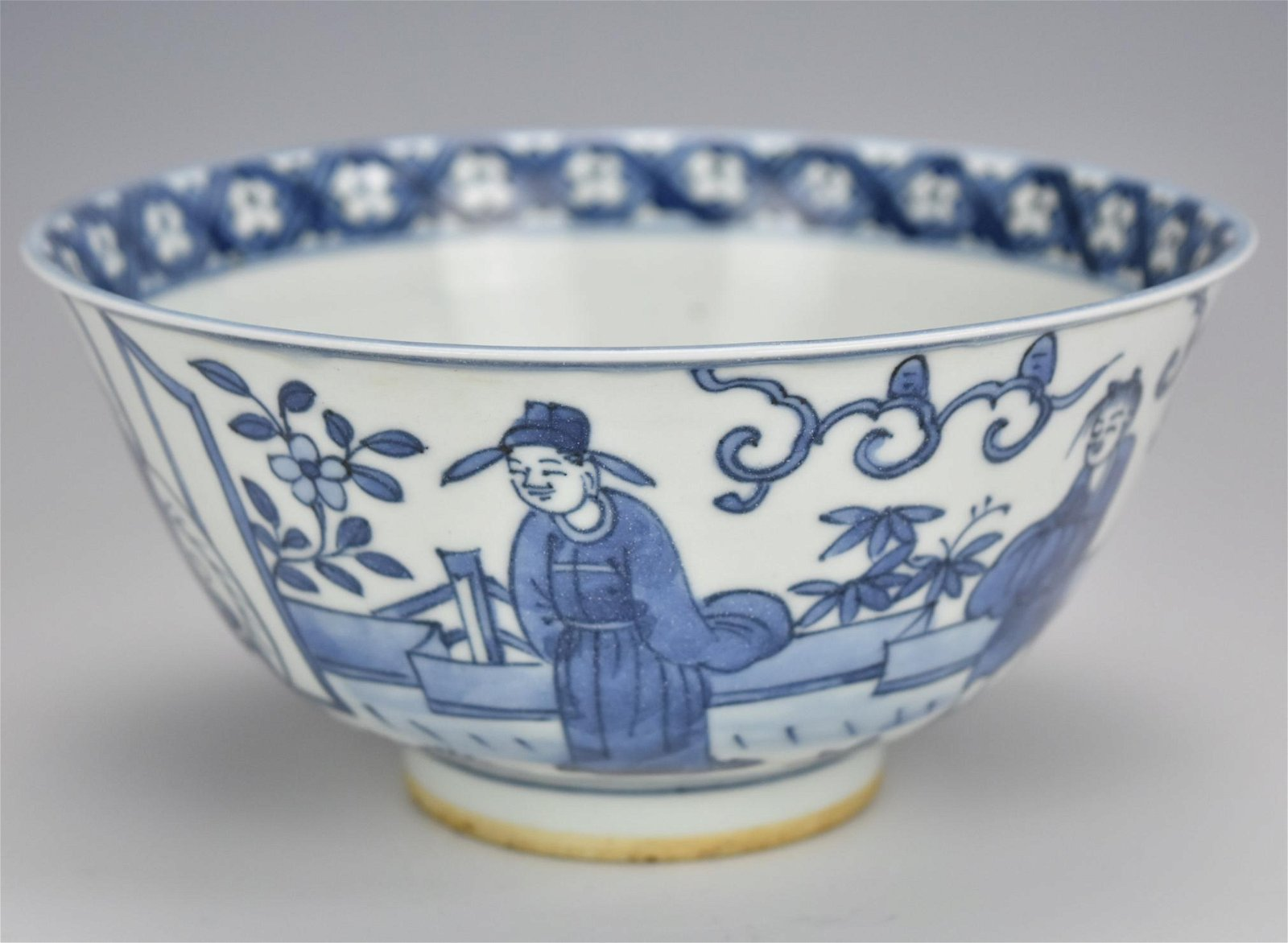 ChineseBl& W Figurative Bowl w/ Jiangjing Mark