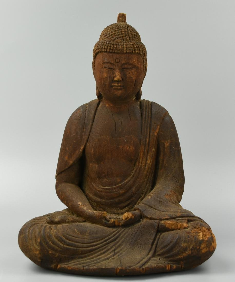 Wood Carving of Seated Meditating Buddha,17-18th C