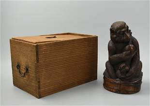 Carving of Mother Child Monkeys w PeachQing D