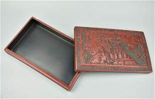Chinese Lacquer Box w Mountains Pines20th C