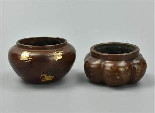 2 Two Small Chinese Gilt Bronze Censers20th C