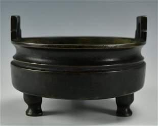 Chinese Circular Bronze Tripod Censer1819th C