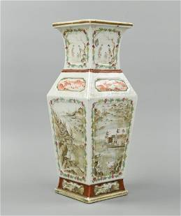 Chinese Grisaille Square Vase w/ Pavilions,ROC P
