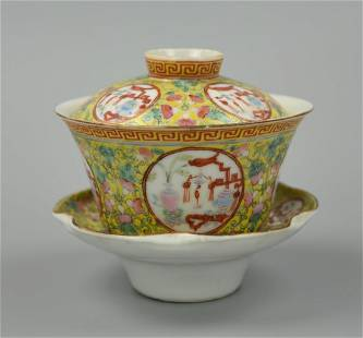 Chinese Famille Rose Yellow Teacup Set,19th C.