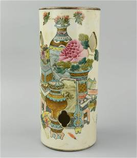 Chinese Famille Rose Hat Stand w/ Flowers, 19th C.
