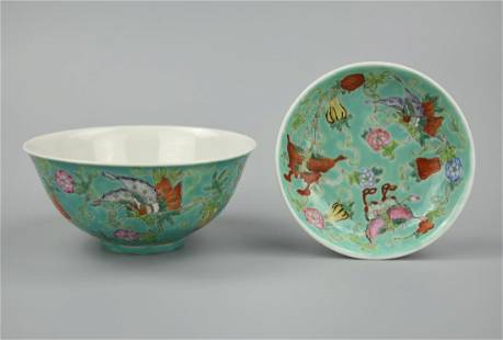 Chinese Famille Rose Butterfly Bowl&Saucer, 19th C