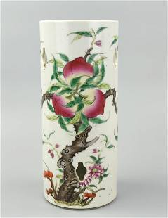 Chinese Famille Rose Hat Stand w/ Peach,Tongzhi P.