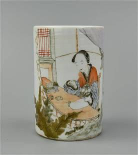 Chinese Qianjiang Brush Pot w/ Female Poet, ROC P.