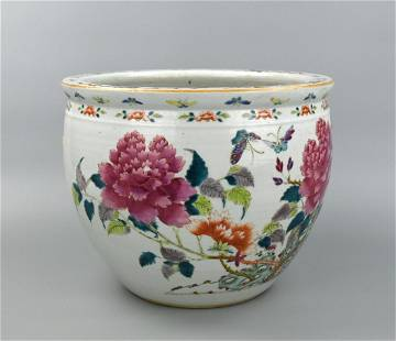 Chinese Famille Rose Jardiniere w/ Flower,19th C.