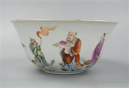 Large Chinese Famille Rose 8 Immortals Bowl ,ROC P