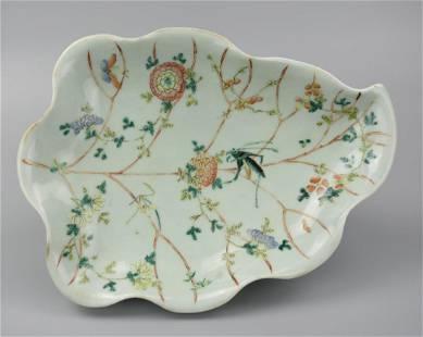 Chinese Celadon Famille Rose Leaf Dish, 19th C.