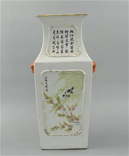 Chinese Qianjiang Enamel square vase,19th C.