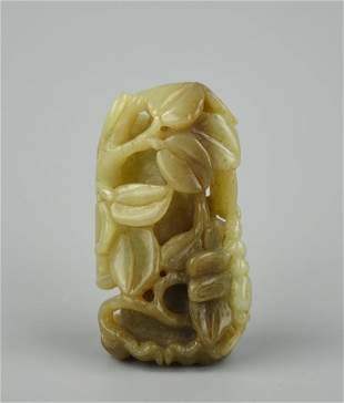 Chinese Jadeite Ornament w Dragonfly Flower