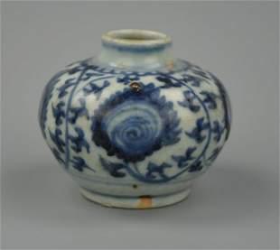 Chinese B W Jar w Scrolling Floral Ming D